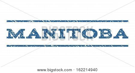 Manitoba watermark stamp. Text tag between horizontal parallel lines with grunge design style. Rubber seal stamp with dirty texture. Vector cobalt color ink imprint on a white background.