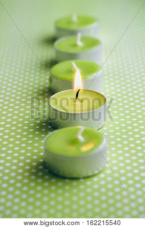 Small scented green candles on green dotted background.