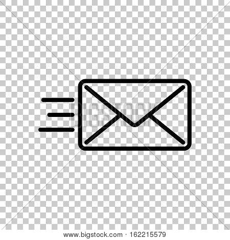 Send Mail Icon. Sms Line. Black Icon On Transparent Background.