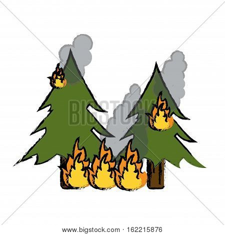 drawing wildfire destroys pines smock vector illustration eps 10