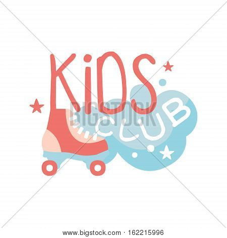 Kids Land Playground And Entertainment Club Colorful Promo Sign With Roller Skates For The Playing Space For Children. Vector Template Promotional Logo For The Entertaining Family Center.