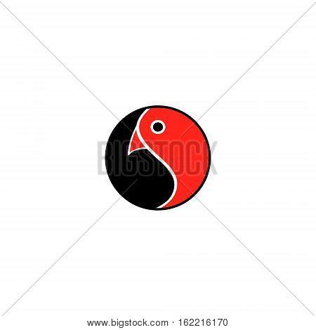 Dao Bird. Round emblem is the symbol of harmony with a bird head. Vector Yin Yang