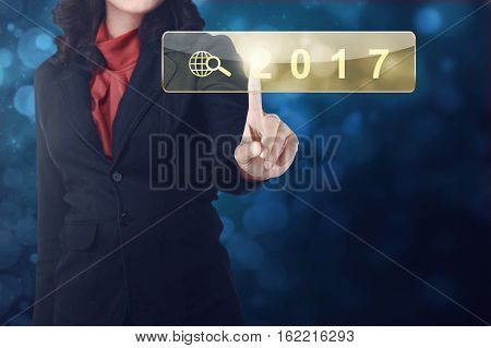 Business Woman Hand Touching 2017 In Search Bar