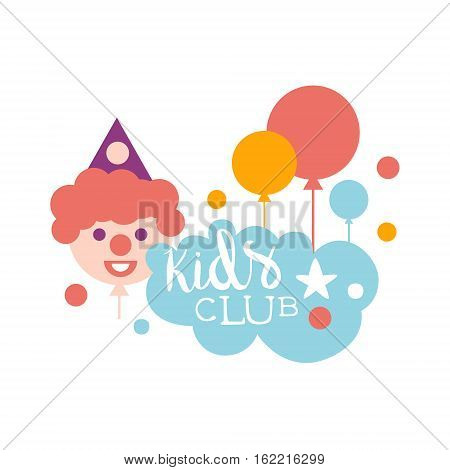 Kids Land Playground And Entertainment Club Colorful Promo Sign With Clown For The Playing Space For Children. Vector Template Promotional Logo For The Entertaining Family Center.