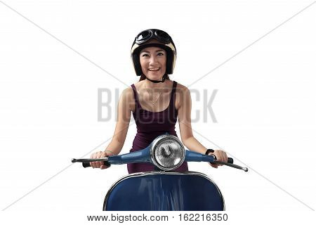 Asian Woman Riding A Blue Scooter