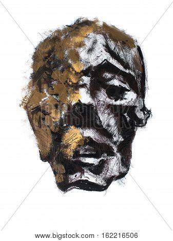 Old antique mummy head hand drawn portrait