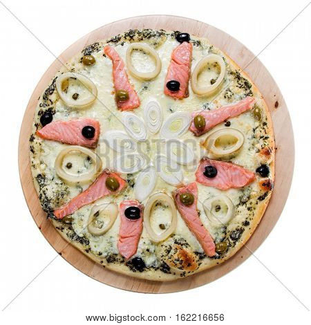 Delicious hot pizza with salmon isolated on white