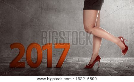 Woman Feet On Pedestrian Road With 2017