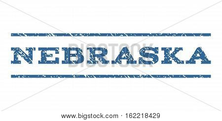 Nebraska watermark stamp. Text tag between horizontal parallel lines with grunge design style. Rubber seal stamp with unclean texture. Vector cobalt color ink imprint on a white background.