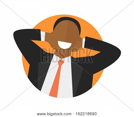 Satisfied relaxing black man flat icon. Work done concept. Happy impersonal businessman. Isolated vector image