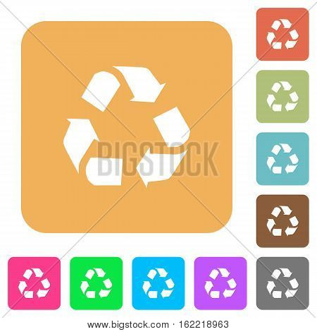 Recycling icons on rounded square vivid color backgrounds.