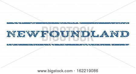 Newfoundland watermark stamp. Text tag between horizontal parallel lines with grunge design style. Rubber seal stamp with dirty texture. Vector cobalt color ink imprint on a white background.