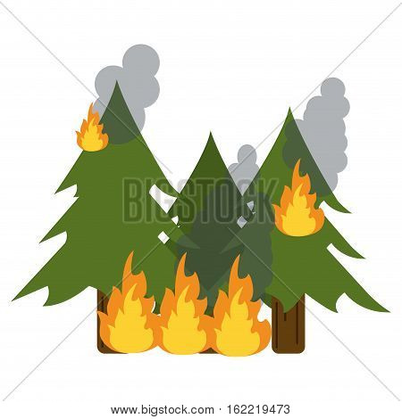 wildfire destroys pines smock vector illustration eps 10