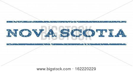 Nova Scotia watermark stamp. Text caption between horizontal parallel lines with grunge design style. Rubber seal stamp with unclean texture. Vector cobalt color ink imprint on a white background.