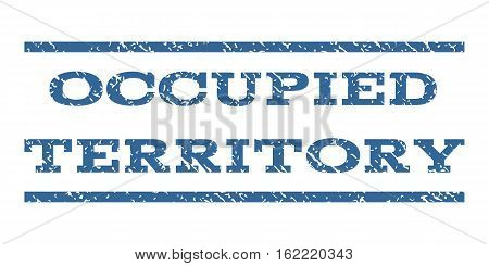 Occupied Territory watermark stamp. Text tag between horizontal parallel lines with grunge design style. Rubber seal stamp with dirty texture. Vector cobalt color ink imprint on a white background.