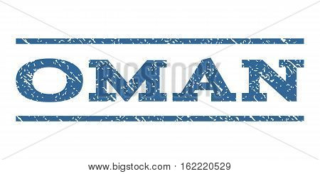 Oman watermark stamp. Text tag between horizontal parallel lines with grunge design style. Rubber seal stamp with dust texture. Vector cobalt color ink imprint on a white background.