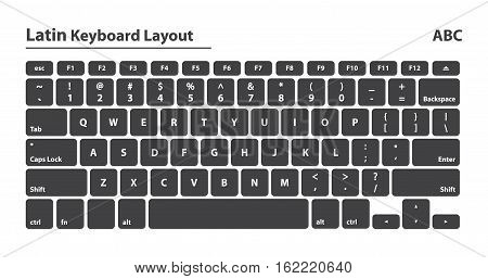 Latin alphabet keyboard layout set - Isolated Vector Illustration