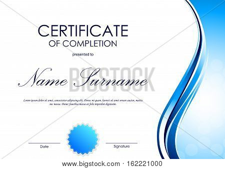 Certificate of completion template with blue dynamic light wavy glossy surface background and seal. Vector illustration