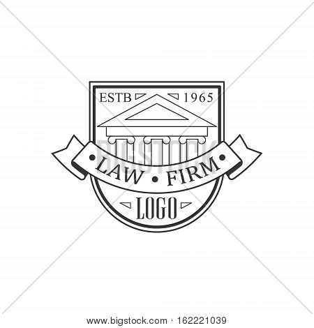 Law Firm And Lawyer Office Black And White Logo Template With Court Building Justice Symbol Silhouette. Vector Monochrome Emblem For Premium Class Business Service.