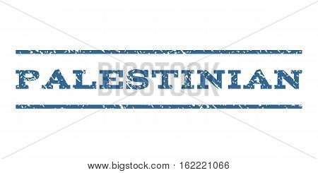 Palestinian watermark stamp. Text caption between horizontal parallel lines with grunge design style. Rubber seal stamp with unclean texture. Vector cobalt color ink imprint on a white background.