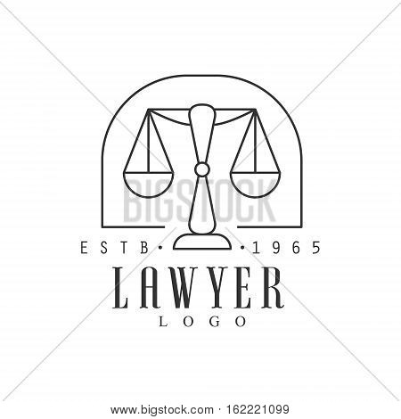 Law Firm And Lawyer Office Black And White Logo Template With Market Balance Justice Symbol Silhouette. Vector Monochrome Emblem For Premium Class Business Service.