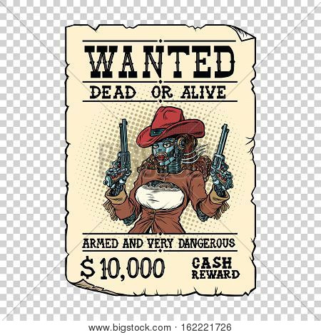 Steampunk female robot bandit, wild West Western style, pop art retro vector illustration. Science fiction