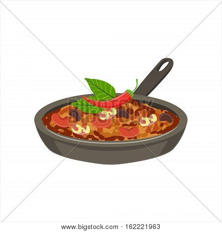 Chili Con Carne Traditional Mexican Cuisine Dish Food Item From Cafe Menu Vector Illustration. Part Of Collection Of National Meal From Mexico Vector Cartoon Illustrations.