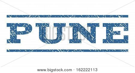 Pune watermark stamp. Text caption between horizontal parallel lines with grunge design style. Rubber seal stamp with dirty texture. Vector cobalt color ink imprint on a white background.
