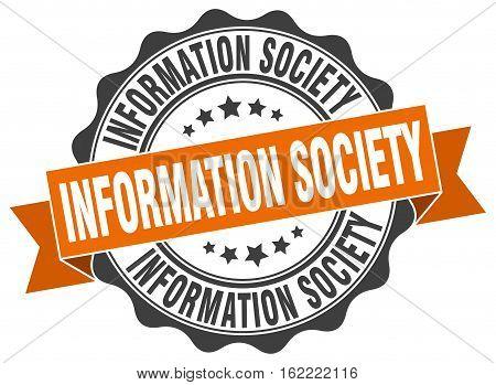 information society. stamp. sign. seal. round. retro. ribbon