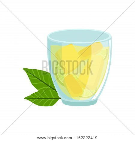 Homemade Lemonade In Glass Traditional Mexican Cuisine Dish Food Item From Cafe Menu Vector Illustration. Part Of Collection Of National Meal From Mexico Vector Cartoon Illustrations.