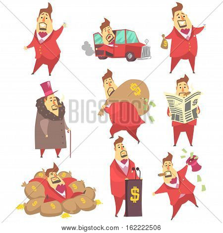Millionaire Rich Man Funny Cartoon Character And His Money Set Of Lifestyle Situations. Multimillionaire Businessman With Cigar In Red Jacket Activities Vector Illustrations.