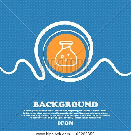 Chemical Icon Sign. Blue And White Abstract Background Flecked With Space For Text And Your Design.