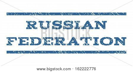 Russian Federation watermark stamp. Text tag between horizontal parallel lines with grunge design style. Rubber seal stamp with dust texture. Vector cobalt color ink imprint on a white background.