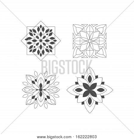 Regular Shape Four Doodle Ornamental Figures In Monochrome Colors For The Zen Adult Coloring Book Set Of Illustrations. Collection Of Geometric Repetitive Vector Patten Designs To Color.