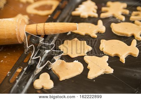 The dough for the gingerbread on the baking sheet