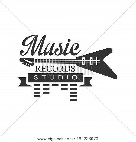 Music Record Studio Black And White Logo Template With Sound Recording Retro With Electro Guitar Silhouette. Musical Producing Label Vintage Monochrome Emblem With Text Vector Illustration.