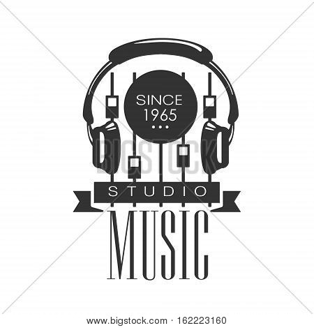 Music Record Studio Black And White Logo Template With Sound Recording Retro With Headphones And Console. Musical Producing Label Vintage Monochrome Emblem With Text Vector Illustration.