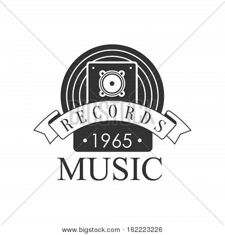 Music Record Studio Black And White Logo Template With Sound Recording Retro Speaker. Musical Producing Label Vintage Monochrome Emblem With Text Vector Illustration.