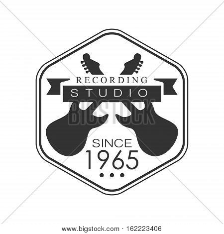 Hezagon Frame Music Record Studio Black And White Logo Template With Sound Recording Retro Electric Guitars Silhouettes. Musical Producing Label Vintage Monochrome Emblem With Text Vector Illustration.