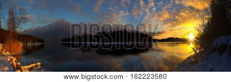 sunset on the protected river , lake Ladoga, Karelian isthmus , Russia