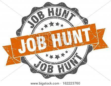 job hunt. stamp. sign. seal. round. retro. ribbon