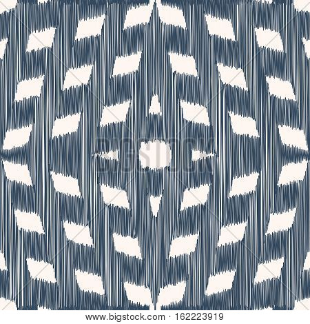 Black and white seamless pattern with Ikat style. Vector illustration