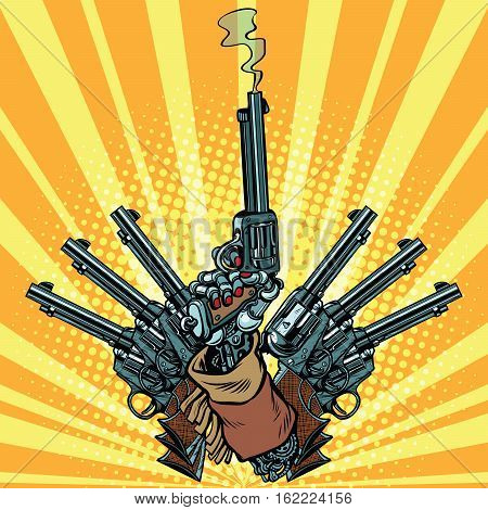 Hand with revolvers shot pop art weapons. Steampunk Western style. Pop art retro revolver vector illustration.