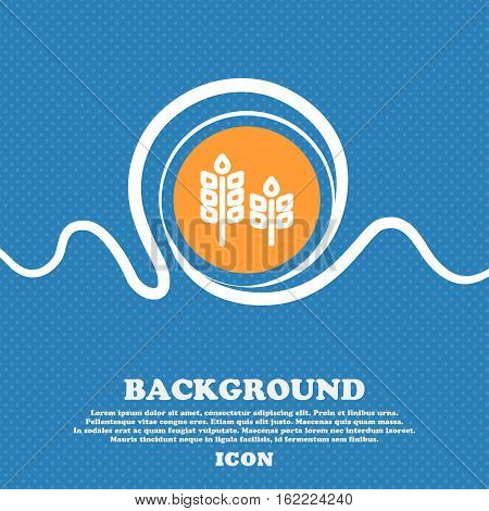 Eco With Green Leaf Icon Sign. Blue And White Abstract Background Flecked With Space For Text And Yo