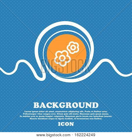 Gear Icon Sign. Blue And White Abstract Background Flecked With Space For Text And Your Design. Vect