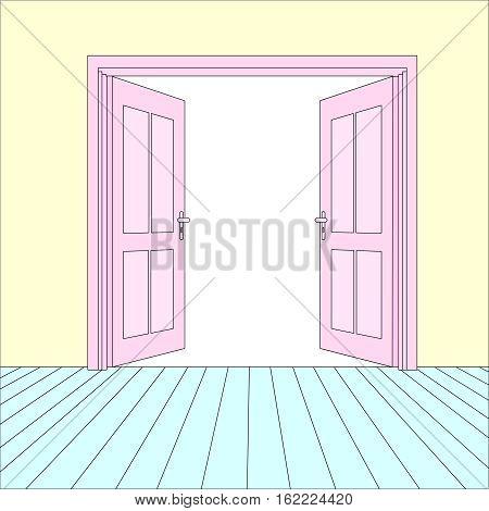 Vector Opened Doors Outside In Room with Floor