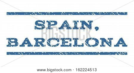 Spain, Barcelona watermark stamp. Text tag between horizontal parallel lines with grunge design style. Rubber seal stamp with unclean texture. Vector cobalt color ink imprint on a white background.
