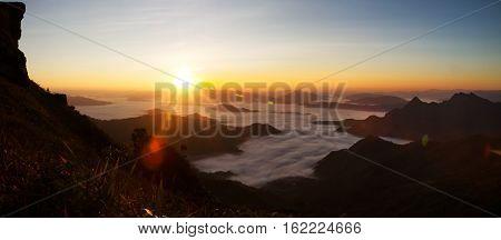 Morning Sunrise With Fog