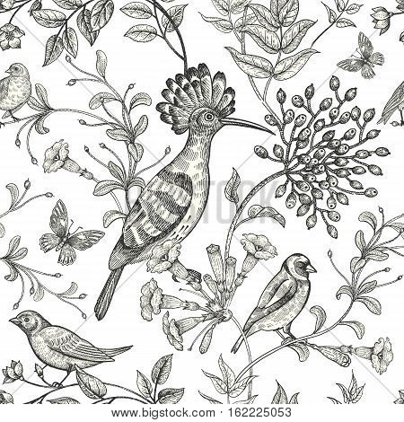 Birds and flowers vector illustration. Unusual motives of nature oriental style. Seamless pattern with image of animals and plants for design of fabrics paper. Vintage art. Black on white background.