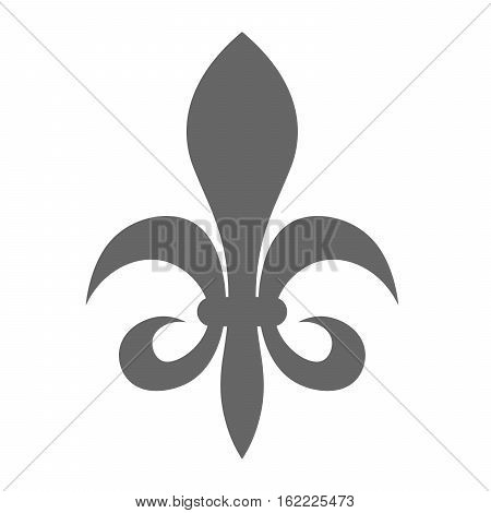The fleur-de-lis or flower-de-luce sign of lily used as decorative design or symbol in heraldry. Simple elegant flat vector grey illustration on white background.